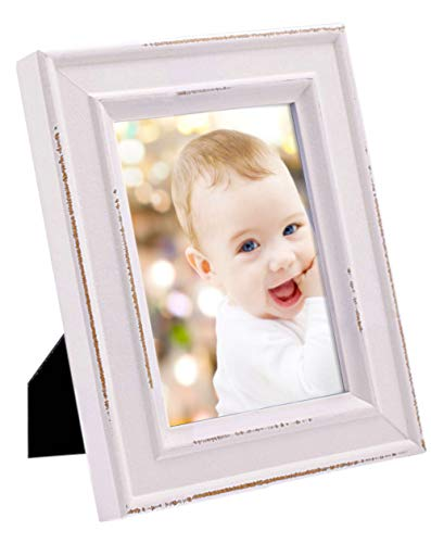 4x6 White Wood Picture Frame with Glass Front - European Style Antiquated - Table Desk Top or Wall ()