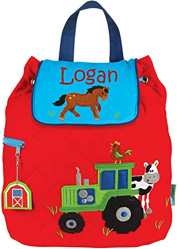 Monogrammed Me Personalized Quilted Backpack, Red Boy Farm Tractor, with Custom Glittery Name