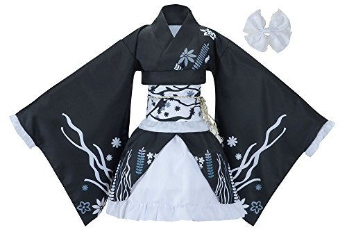Sheface Women's Cosplay Lolita Fancy Dress Japanese Kimono Anime Costumes (X-Large, P04 Black) -