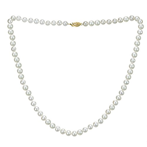 14k Yellow Gold 6.5-7mm White Freshwater Cultured AAA High Luster Pearl Strand, 18