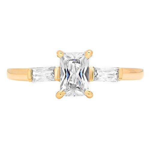 Clara Pucci Three Stone Emerald & Baguette Brilliant Cut Engagement Bridal Wedding Band Ring 14K Yellow Gold, 0.9CT, Size 8.5
