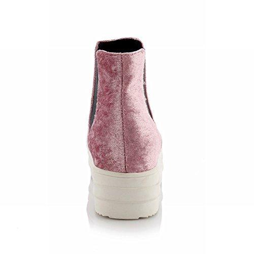 Carolbar Femmes Mode Casual Confort Populaire Plate-forme Robe Bottes Rose