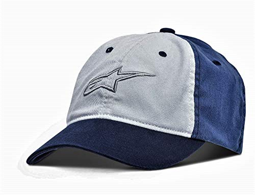 Alpinestars Men's Curved Bill Structured Crown Flex Back 3D Embroidered Logo Flexfit Hat, Unfounded Blue, S/M