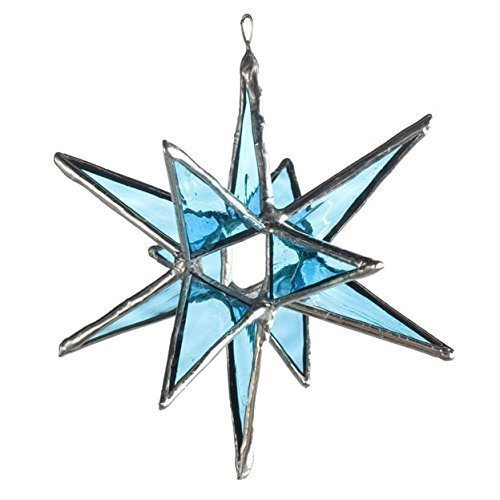 Stained Glass Moravian Star Turquoise, LARGE 4.5' X 5.5', XLARGE: 5.5' to 7'top to bottom LARGE 4.5 X 5.5 XLARGE: 5.5 to 7top to bottom