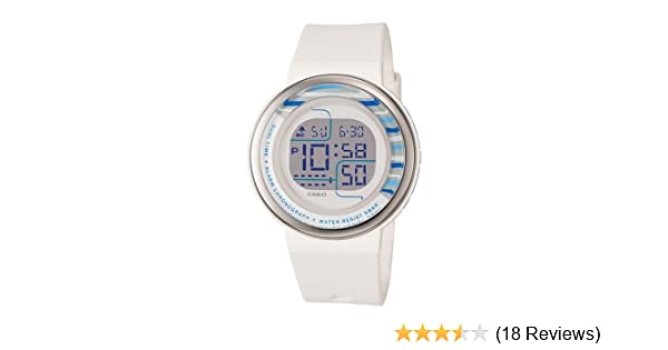 Amazon.com: Casio Womens LDF30-7B Digital White Round Resin Strap Watch: Watches