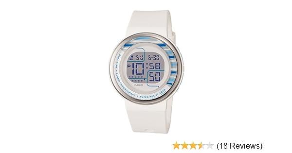 Amazon.com: Casio Womens LDF30-7B Digital White Round Resin Strap Watch: Watches