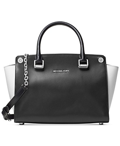 Michael Kors, Borsa a mano donna nero Black/Optic White