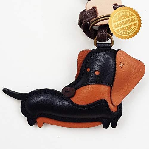 DECOOR Handmade Leather Key Chain Charms Key Ring Cute Dachshund Bag Charm for Women Girls