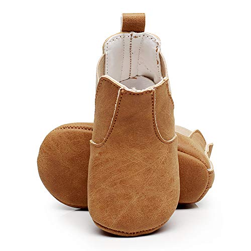 BubbleColor Baby Ankle Chelsea Boots Newborn Infant Toddler Prewalker Moccasin Soft Sole Crib Booties Shoes for Girls Boys (M:6-12 Months/4.72