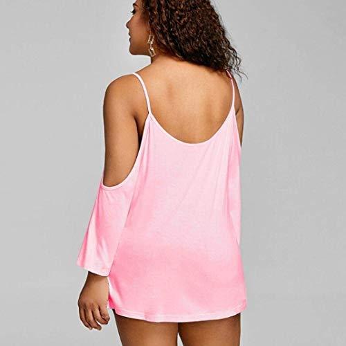 Mode Shirts Loisir Off Oversize Manches Dentelle Tops Tunique Haut Femme Baggy Plage Chemisiers Shoulder Chic Costume Elgante pissure Long Rose Et F46q7n0