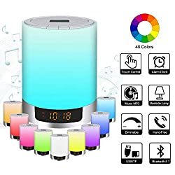 Night Light Bluetooth Speakers with Alarm Clock, Portable Color Changing LED Wireless Speaker - 6 Mode Touch Sensor Dimmable Warm Light Bedside Lamp, Gift for Kids and Adult, Party, Bedroom, Outdoor