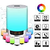 Night Light Bluetooth Speakers with Alarm Clock, Portable Color Changing LED Wireless Speaker