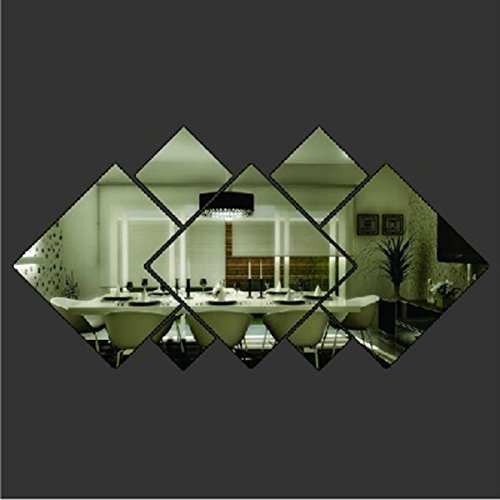 YSTD® 3d Glass Shining Diamond Shape Acrylic Mirror Effect Silver Wall Sticker Mural Window Glass Tile Bedroom Art Wall Decal Decor DIY Bedroom Living Room