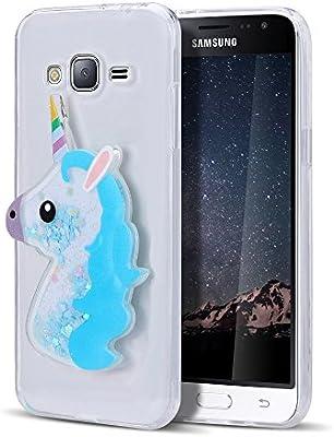 Funda Galaxy J3 2016, Caselover 3D Bling Silicona TPU Unicornio Carcasas para Samsung Galaxy J3 2016 J310 Glitter Líquido Arena Movediza Protección ...