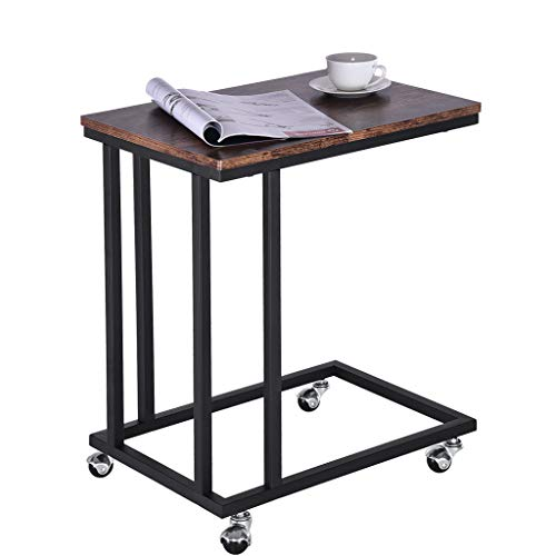 XGao Industrial Side Table End Table Nightstand Mobile Snack Table for Coffee Laptop Tablet Slides Next to Sofa Couch Wood Look Accent Furniture with Metal Frame Rolling Casters for Bedroom (CO)
