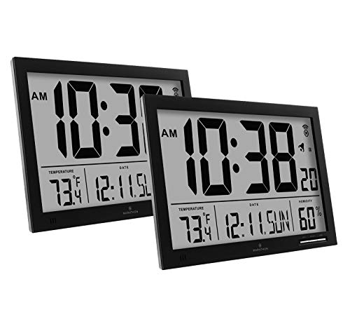 Marathon CL030062BK Slim-Jumbo Atomic Digital Wall Clock Bun
