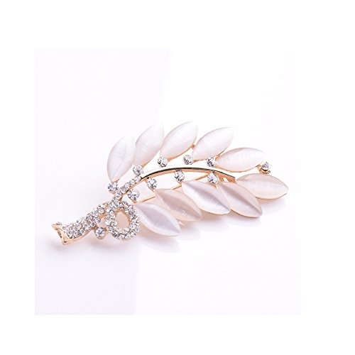 Winter's Secret the Four Seasons Theme Winter Opal Leaf Shape Brooch Vintage Style Deluxe Diamond Accented Corsage (Rc Review Booster)