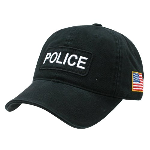 Black Police Officer Polo Style Adjustable Baseball Cap Hat US Flag
