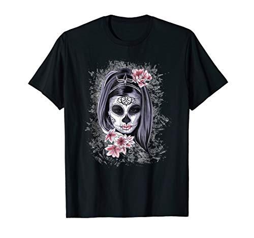 Mens Halloween Women Face Painted Art La Catrina Skull T-Shirt Medium Black