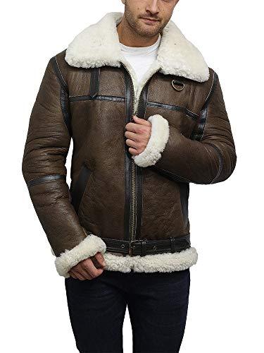 Brandslock Men's Sheepskin Jacket Aviator Genuine Leather Shearling Bomber Flying Pilot (L, Dark ()