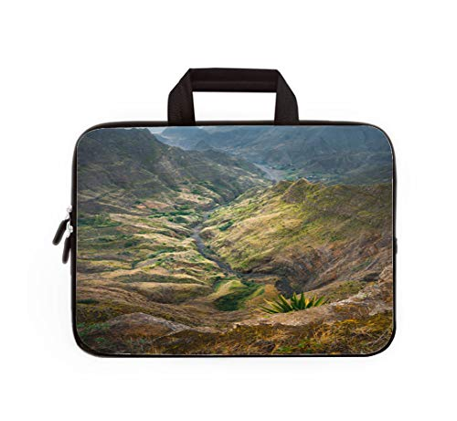 Double Zipper Laptop Bag,Breathtaking View from Delgadinho Mountain Ridge Santo Antao Cape Verde,17-inch Canvas Waterproof Laptop Shoulder Bag is Compatible with 17-inch / 17.3-inch notebooks. ()