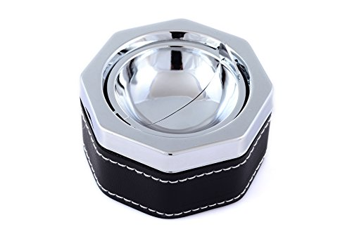 Buddha Smoking Accessories Stainless Steel Ashtray, Sliver Faux Leather Ashtray With White Stitching - With One Touch Of Your Finger The Ashtray Is Clean - by Buddha Smoking Accessories