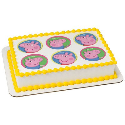 Peppa Pig Peppa y George comestible glaseado imagen para 6 ...