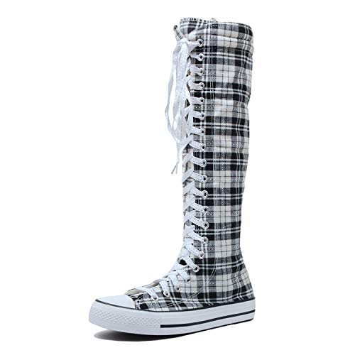 Canvas Plaid Shorts (Women's Tall Canvas Lace Up Knee High Casual Sneakers - Various Length (8 B(M) US, Light BW Plaid))