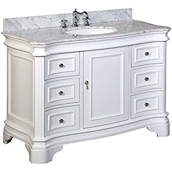 Kitchen Bath Collection KBC-A48WTCARR Katherine Bathroom Vanity with Marble Countertop, Cabinet with Soft Close Function and Undermount Ceramic Sink, Carrara/White, 48""