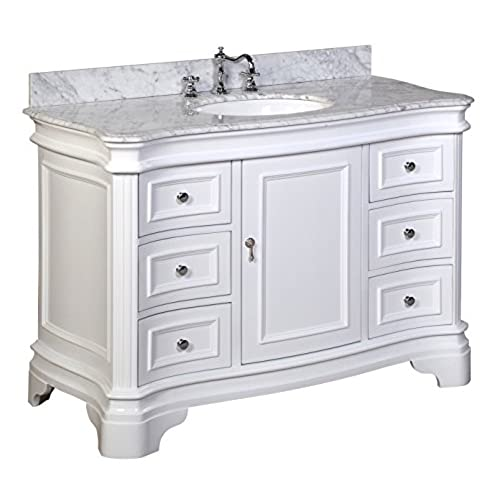 Kitchen Bath Collection KBC A48WTCARR Katherine Bathroom Vanity With Marble  Countertop, Cabinet With Soft Close Function And Undermount Ceramic Sink,  ...