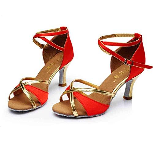 Latin Haut Salsa Satin Femmes Bal Tango Chaussures Rouge talons De Med Talon femmes Salle Danse Party qX0FA
