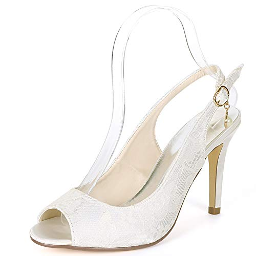Satin Toe Buckle Shoes Ivory Low Ivory Women Heels Wedding Platform YC Peep Bride High L 9Heels CAvq7wA