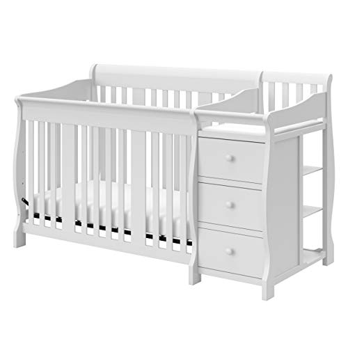 Storkcraft Portofino 4 in 1 Fixed Side Convertible Crib Changer, White, Easily Converts to Toddler Bed Day Bed or Full Bed, Three Position Adjustable Height Mattress Mattress Not Included