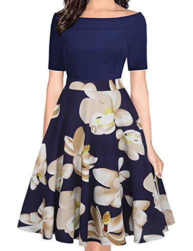 - Naive Shine Women's Retro Off Shoulder Swing Patchwork Pockets Casual Party Dress White Floral for Navy Blue Size XXL