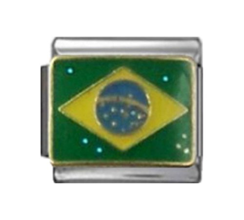 Stylysh Charms BRAZIL BRAZILIAN FLAG Enamel Italian 9mm Link PC246 - Flag Enamel Italian Charm
