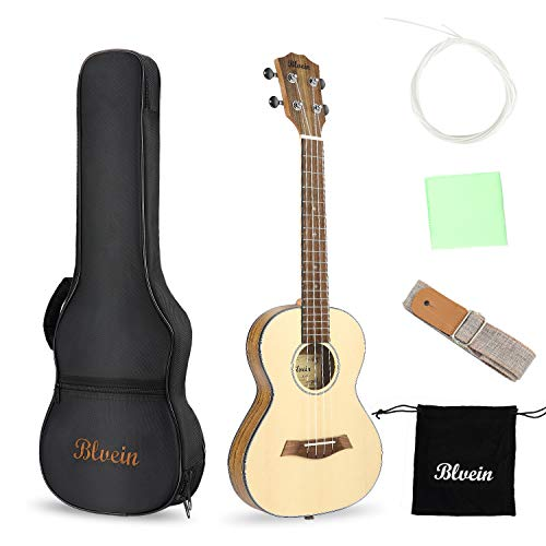 BLVEIN Ukulele Tenor Size 27 Inch Solid Spruce Ukele Professional Uke Kit with Gig Bag Strap Extra Strings Polish Cloth