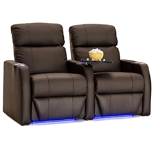 Seatcraft Sienna Brown Leather Home Theater Seating - Row of 2 Seats - Power Recline