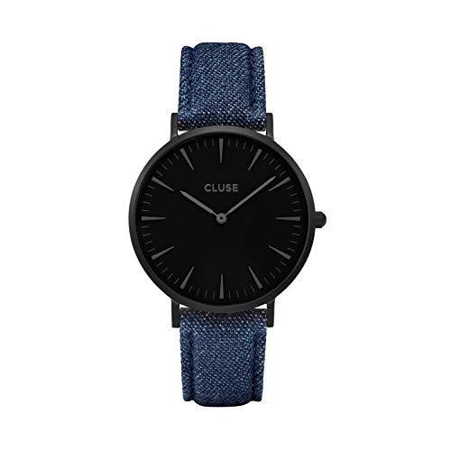 CLUSE La Bohème Full Black Blue CL18507 Women's Watch 38mm Denim Strap Minimalistic Design Casual Dress Japanese Quartz Elegant Timepiece