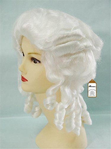 Anogol Hair+Cap White Curly Wig Synthetic Wig Cosplay Costume Wig for Women Curly Wig for Cosplay Party Halloween for Girls Costume -