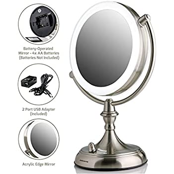 Amazon Com Ovente Led Lighted Tabletop Makeup Mirror 1x