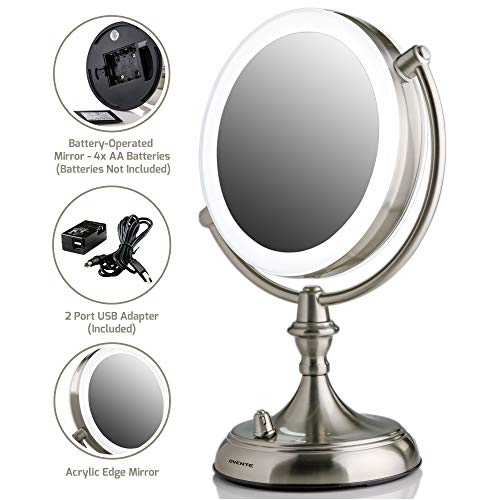 Ovente LED Lighted Tabletop Makeup Mirror, 1x/10x Magnification, 7.5