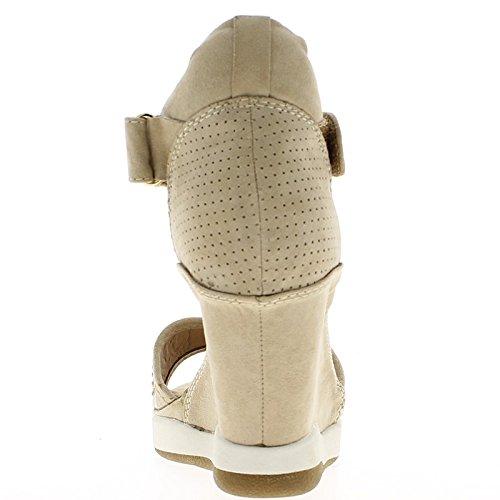 Baskets compensées montantes ouvertes beiges à talon de 8cm