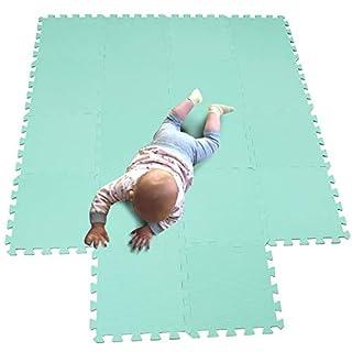 MQIAOHAM Children Puzzle mat Play mat Squares Foam Play mat Tiles Baby mats for Floor Puzzle Puzzle mat Childrens Soft Play mats Girl playmat Carpet Interlocking Foam Floor mats for Baby Green 108