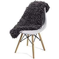 Genuine Rare Gotland Sheepskin Rug - Short Curly Fur Rug - Grey with White Rug - Natural Sheepskin (Dark Grey)