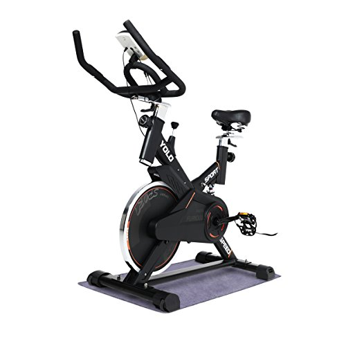 Ultra-silence Indoor Upright Cycling Bike with LCD Monitor Exercise Bike for Health and Fitness (Commercial Use-Black) Best Selling