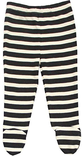 Maple Clothing Organic Cotton Baby Pants Footed GOTS Certified Clothes (Black-Natural, 3-6m)
