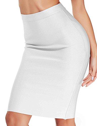 Women's Bandage Club High Waist Midi Skirts - Rayon Bodycon Club Pencil Skirt S412 (S, white) (Pencil Skirt Fur)