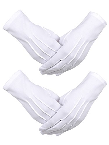 Sumind 2 Pairs White Nylon Cotton Gloves with Snap Closure for Police Formal Tuxedo Honor Guard Costume Parade Gloves, 9.05 Inches -