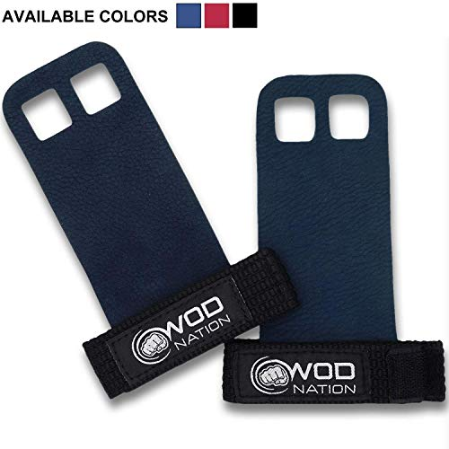 WOD Nation Leather Barbell Gymnastics Grips Perfect for Pull-up Training, Kettlebells, Gymnastic Rings (Blue, Small)