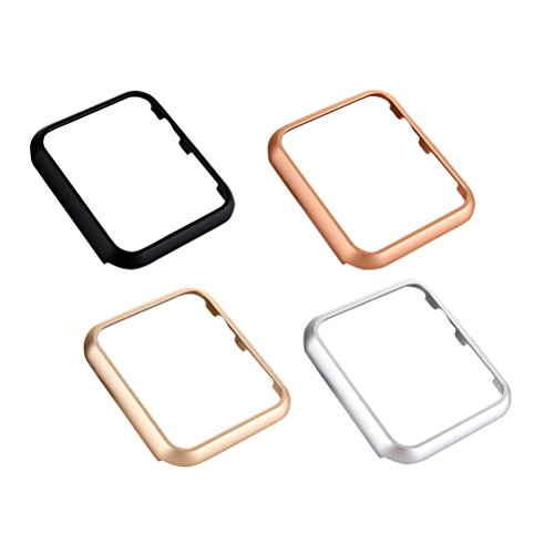 (UKCOCO for Apple Watch Case, 4 Pack Shockproof Cover Anti-Scratch Metal Frame Protective Bumper Skin Shell for Apple iWatch Series 1/2/3 38mm/42mm (Gold, Silver, Black, Rose Gold))